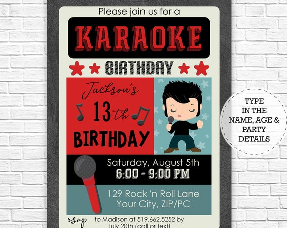 Karaoke Party - Karaoke Birthday Party Invitation - Karaoke Invitation - Rock Star Party Invitation - Download & Personalize in Adobe Reader