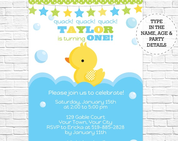 Boy Rubber Duck Birthday Party Invitation - Rubber Duck Invitation - Boy 1st Birthday - Download & Personalize at home in Adobe Reader