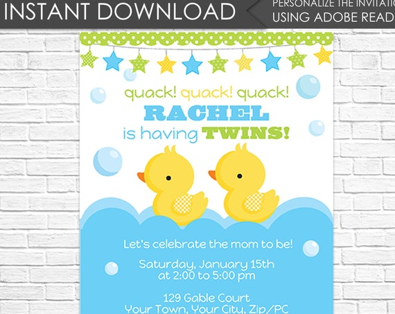 Twin Boy Rubber Duck Baby Shower Invitation - Twin Baby Shower - Twin Boy Baby Shower - Download & Personalize at home in Adobe Reader