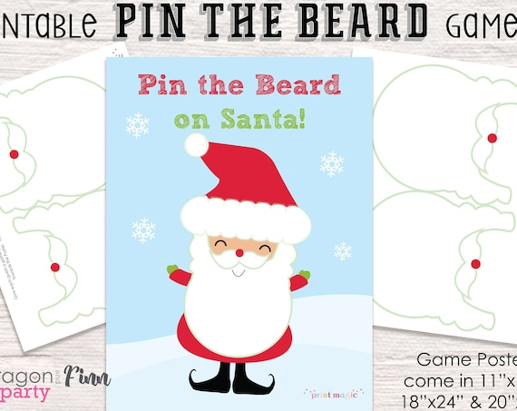 Pin the Beard on Santa Printable Party Game - 3 Sizes Included - Christmas Party Game - Kids Christmas Game - Christmas Activity
