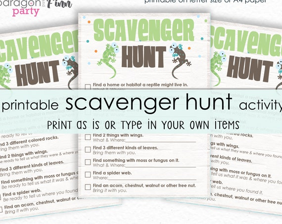 Outdoor Scavenger Hunt Printable Activity - Reptile Birthday Party Game - Nature Scavenger Hunt - Printable PDF - Instant Download