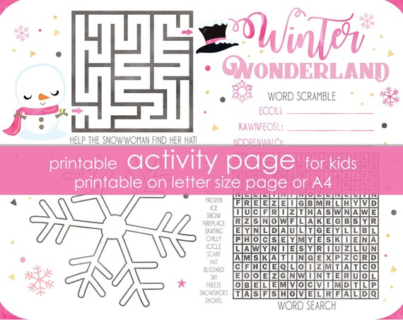 Snowman Winter Wonderland Printable Activity - Winter Activity Sheet for Kids - Pink Winter Wonderland Game - Instant Download
