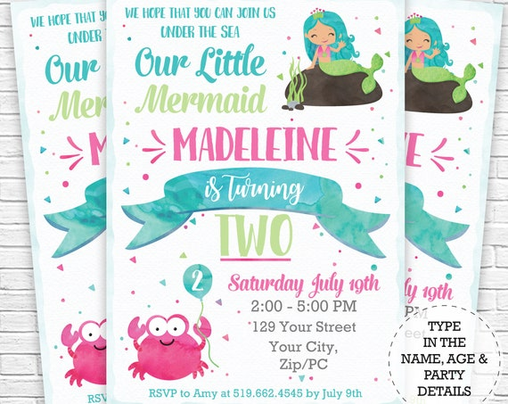 Mermaid Invitation - Mermaid Birthday Invitation - Under the Sea Birthday Invitation - Instantly Download & Personalize in Adobe Reader