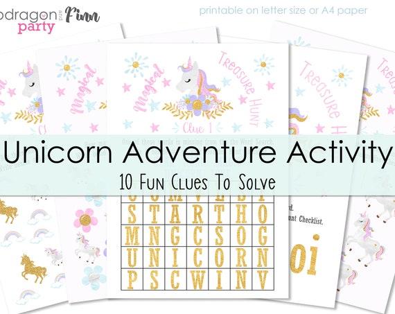 Unicorn Birthday Party Game - Unicorn Adventure Clue Solving Activity - Unicorn Party Activity Solve the Clues - Instant Download