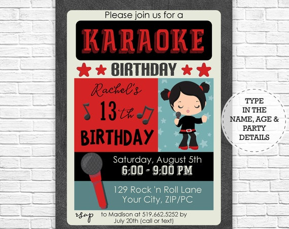 Karaoke Party - Karaoke Birthday Party Invitation - Girl Karaoke Invitation - Girl Rock Star Party - Download & Personalize in Adobe Reader