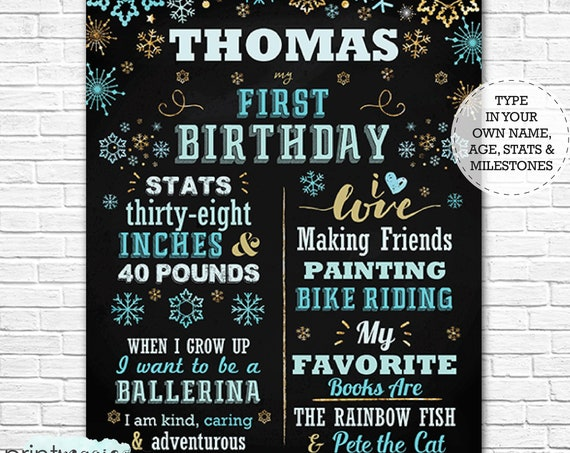 Blue Gold Winter Wonderland 1st Birthday Chalkboard Poster - Winter Wonderland Chalkboard - Download & Personalize in Adobe Reader at home