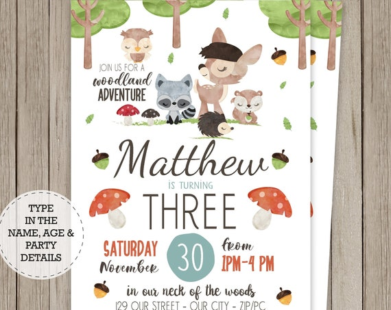 Woodland Invitation - Woodland Birthday Invitation - Forest Animals Invitation - Download & Personalize in Adobe Reader - Baby Deer