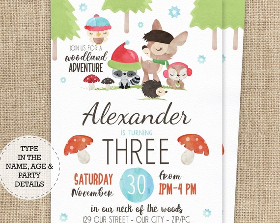 Winter Woodland Invitation - Christmas Woodland Birthday Invitation - Winter Forest Invite - Download & Personalize in Adobe Reader