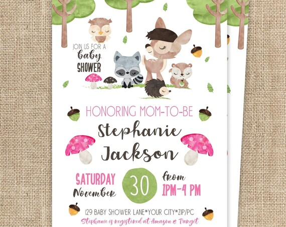 Woodland Baby Shower Invitation - Forest Friend Baby Shower - Forest Animals Baby Shower Invitation - Download & Personalize in Adobe Reader