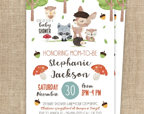 Woodland Baby Shower Invitation - Forest Animals Baby Shower Invitation -  Forest Friend Baby Shower- Download & Personalize in Adobe Reader