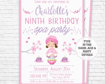 Spa party invitation etsy spa party invitation spa birthday invitation brown hair pamper party invitation watercolor download personalize in adobe reader filmwisefo