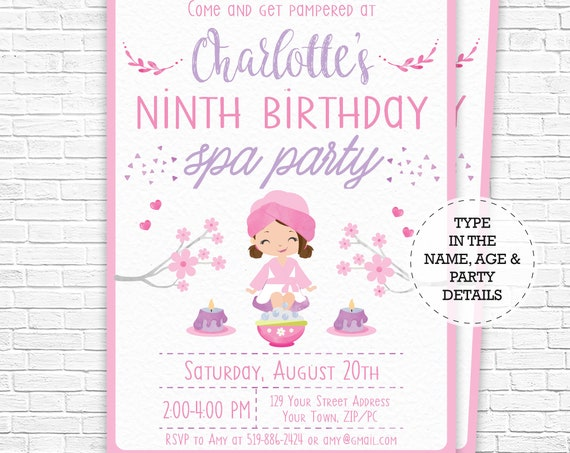 Spa Party Invitation - Spa Birthday Invitation - Brown Hair - Pamper Party Invitation - watercolor - Download & Personalize in Adobe Reader