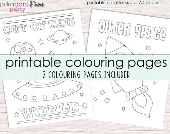 Space Coloring Pages - Space Birthday Party Colouring Pages - Out of this World Coloring Pages - Space Party Activity - Instant Download
