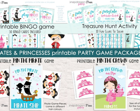 Princess & Pirate Party Game Package - 4 Activities Included - Printable Party Games - Pirate and Princess Birthday Activities