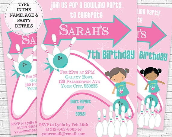 Girl Bowling Birthday Party Invitation - Bowling Party - Bowling Invitation - Download & Personalize at home in Adobe Reader