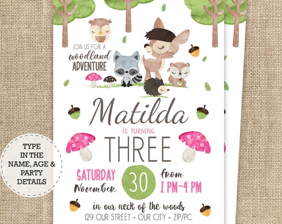 Pink Woodland Invitation - Girl Woodland Birthday Invitation - Forest Animal Invitation - Download & Personalize in Adobe Reader - Baby Deer