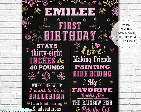 Pink Gold Snowflake Winter Wonderland 1st Birthday Chalkboard Poster - Winter Onederland Chalkboard - Download & Personalize in Adobe Reader