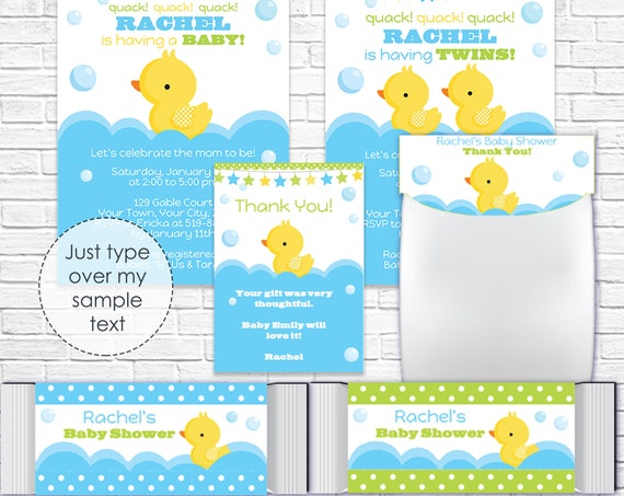 Printable Rubber Duck Baby Shower Invitation & Decorations - Baby Shower Invitation, Thank You and More - Personalize in Adobe Reader