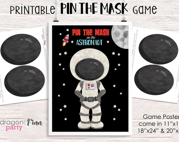 Pin the Mask on the Astronaut Printable Party Game - 3 Poster Sizes - Space Birthday Party Game - Outer Space Party Game - Instant Download