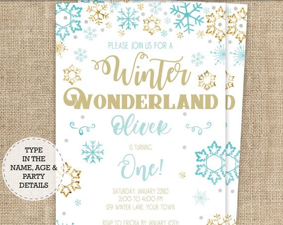 Blue Gold Winter Wonderland Birthday Invitation - Blue Snowflake Invitation - Boy Winter Birthday - Download & Personalize in Adobe Reader