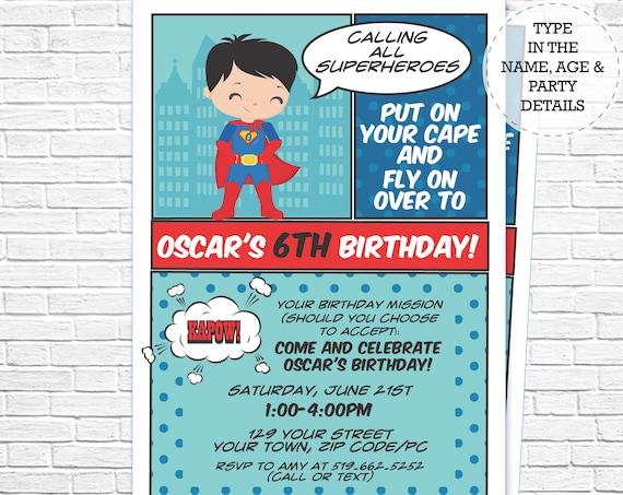 Superhero Invitation - Boy Hero Invitation - Comic Book Invitation - Super Hero Invitation - Download & Personalize in Adobe Reader