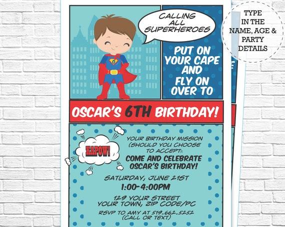 Brown Hair Superhero Invitation - Comic Book Invitation - Boy Hero Invitation - Super Hero Invitation - Personalize in Adobe Reader