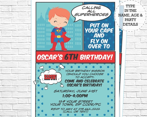 Red Hair Superhero Invitation - Boy Hero Invitation - Super Hero Invitation - Comic Book Invitation - Personalize in Adobe Reader