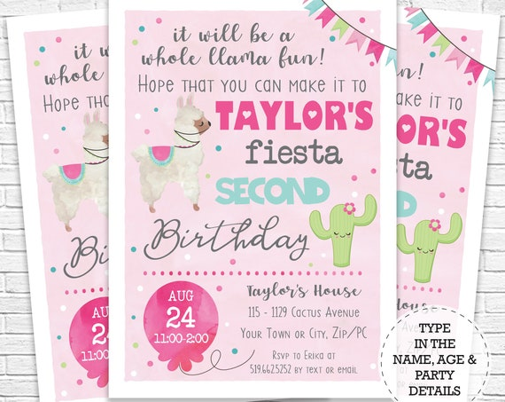 Llama Invitation - Pink Cactus and Llama Birthday Invitation - Fiesta Birthday Invitation - Instantly Download & Personalize in Adobe Reader