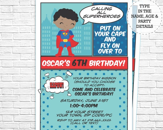 African American Superhero Invitation - Boy Hero Invitation - Comic Book Invitation - Super Hero Invitation - Personalize in Adobe Reader
