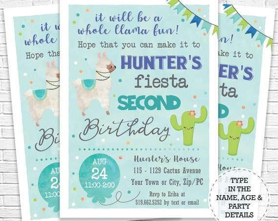 Blue Llama Invitation - Cactus and Llama Birthday Invitation - Fiesta Birthday Invitation - Instantly Download & Personalize in Adobe Reader
