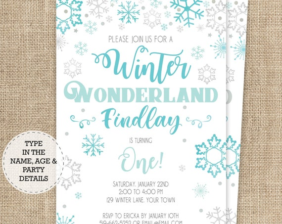 Winter Wonderland Boy Birthday Invitation  - Boy Onederland Birthday - Winter Birthday - Download & Personalize at home in Adobe Reader