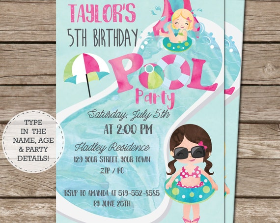 Pink Pool Party Invitation - Brown Hair Girl - Pool Party Birthday - End of Year Party Invitation - Download & Personalize in Adobe Reader