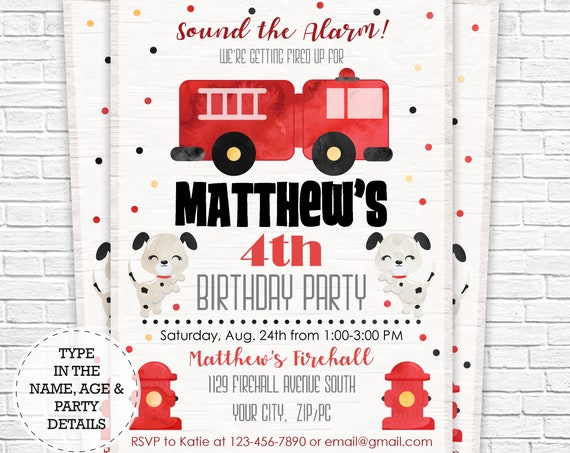 Firetruck Invitation - Firetruck Birthday Invitation - Fireman Invitation - Firefighter Invitation - Download & Personalize in Adobe Reader