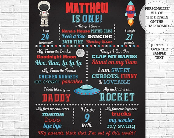 Space Birthday Chalkboard Poster - Space 1st Birthday Chalkboard - Spaceship Chalkboard - Instant Download & Edit in Adobe Reader at home