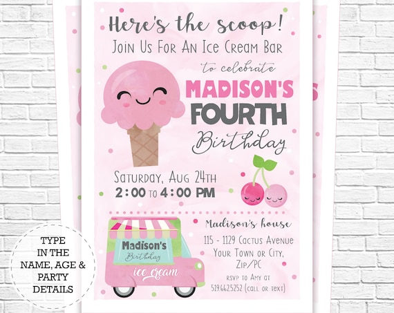 Ice Cream Invitation - Ice Cream Bar Birthday Invitation - Ice Cream Party Invitation - Instantly Download & Personalize in Adobe Reader