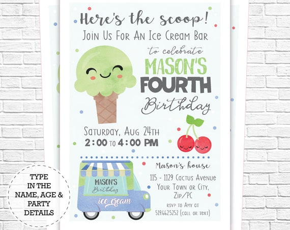 Ice Cream Party Invitation - Ice Cream Bar Birthday Invitation - Ice Cream Invitation - Instantly Download & Personalize in Adobe Reader