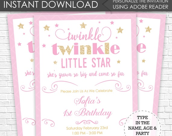 Twinkle Twinkle Little Star Invitation - twinkle twinkle 5x7 invitation - Instant Download - Personalize at home in Adobe Reader