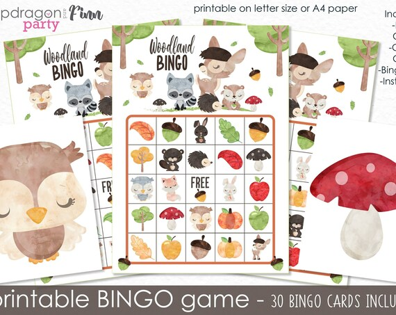 Woodland Bingo Printable Party Game - 30 Bingo Cards - Woodland Birthday Game - Forest Animals Party Game - Printable PDF - Instant Download