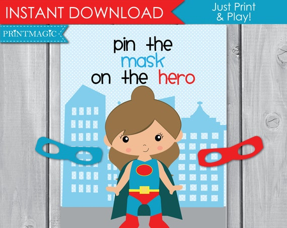 Pin the Mask On the Superhero Girl Party Game - Printable Party Game - Superhero Birthday Party - Hero Party Game - Instant Download