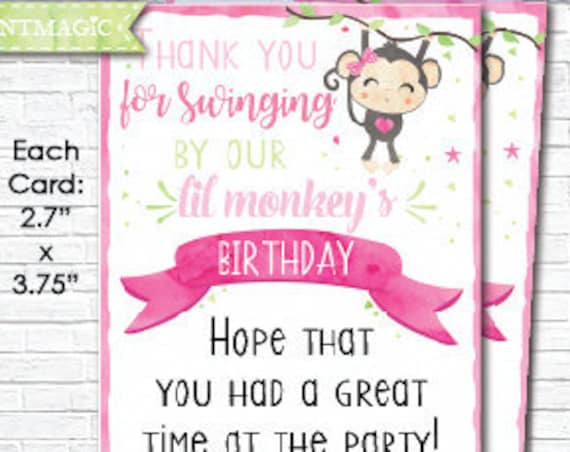 Monkey Girl Birthday Thank You - Cute Pink Watercolor Monkey Birthday Thank You Note Card - Instant Download & Personalize in Adobe Reader