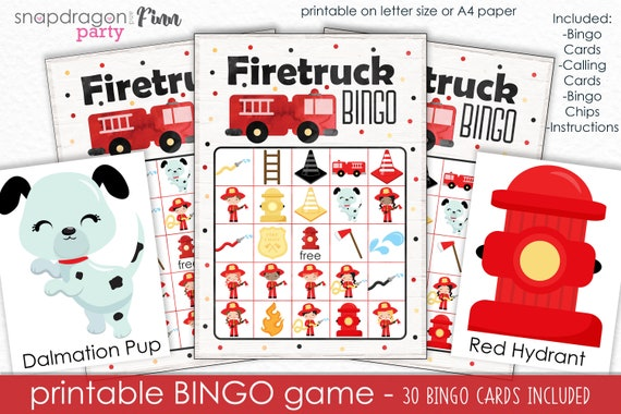 Firetruck Bingo Printable Party Game - 30 Bingo Cards - Firefighter Birthday Game - Firetruck Party Game - Printable PDF - Instant Download