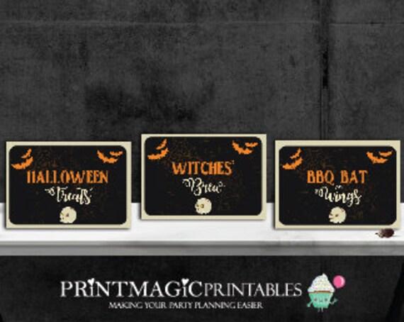 Halloween Food Labels  - Halloween Buffet Table Tent Card - Halloween Party Buffet Labels - Download & Personalize in Adobe Reader