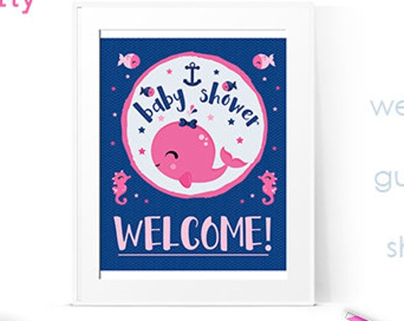 "Pink Nautical Baby Shower 8""x10"" Welcome Sign and Cards & Gifts Sign - both included - Instant Download - Pink Girl Baby Shower"