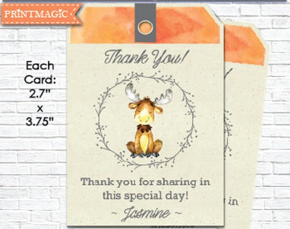 Printable Moose Baby Shower Thank You - Woodland Animal Thank You Tag - Woodland Baby Shower - Instant Download- Personalize in Adobe Reader
