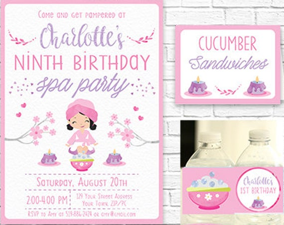 Spa Party Invitation and Decorations - Spa Printable Party Kit - Pamper Party Invitation - Instantly Download & Personalize in Adobe Reader