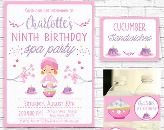 Printable Spa Party Invitation and Decorations - Red Hair Girl - Pamper Party Invitation - Instantly Download & Personalize in Adobe Reader