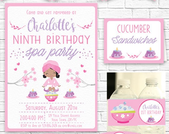 Spa Party Invitation and Decorations - African American Girl - Pamper Party Invitation - Instantly Download & Personalize in Adobe Reader