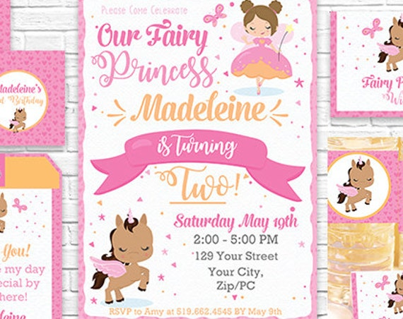Fairy Invitation and Decorations - Fairy Princess Printable Party Kit - Fairy and Unicorn Party - Download Now & Personalize in Adobe Reader