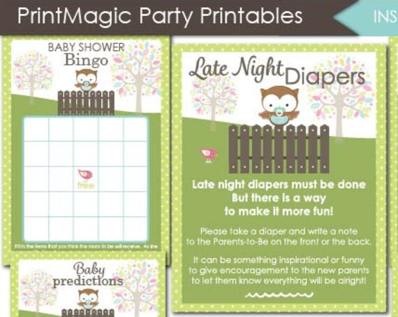 Owl Baby Shower Games - Instant Download - Boy Baby Shower Activities - Wishes for Baby - Late Night Diapers - Bingo - Diaper Raffle