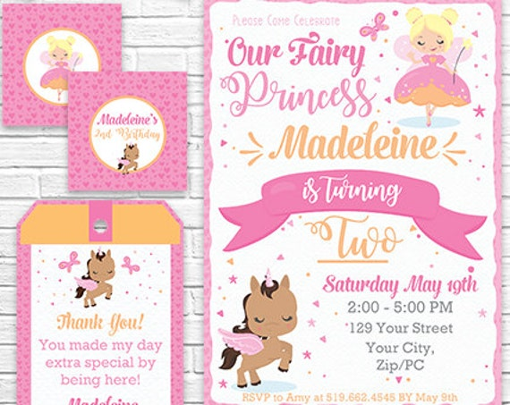 Blonde Fairy Invitation and Decorations - Fairy and Unicorn Party Kit - Fairy Princess Invitation -  Download & Personalize in Adobe Reader